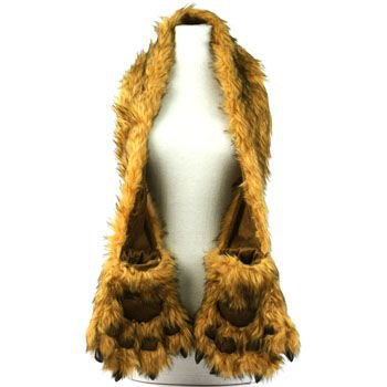 Winter Faux Fake Fuzzy Animal Fur Scarf Neckwarmer w/ Paw Gloves Mittens Natural