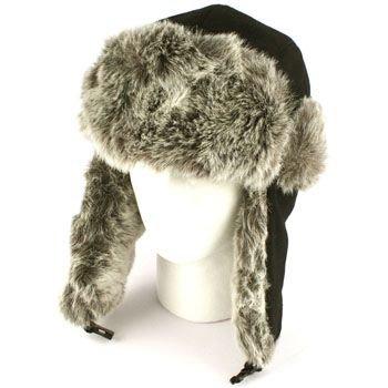 Mens' Winter Faux Fur Wool Blend Thick Trooper Trapper Ski Aviator Cap Hat Black