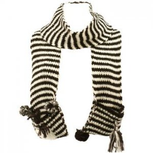 Winter Hand Knit Zebra Animal Face and Tail Long Scarf Shawl Ski Hat w Pockets