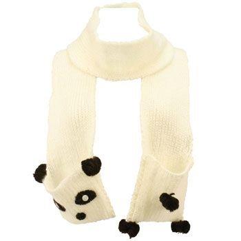 Winter Hand Knit Panda Animal Face and Tail Long Scarf Shawl Ski Hat w Pockets