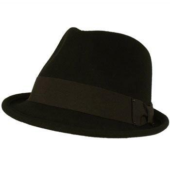 Unisex Winter Classic 100% Soft Wool Felt Stingy Brim Ribbon Cap Hat Black L/XL