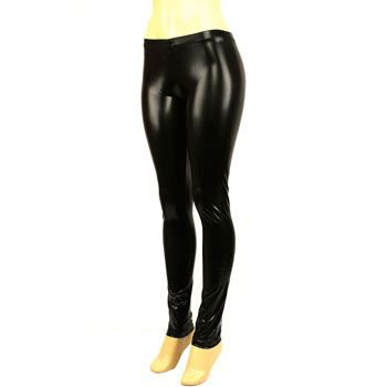 Ladies Shiny Liquid Shiny Wet Look Full Long Leggings Stretchy Footless Black M