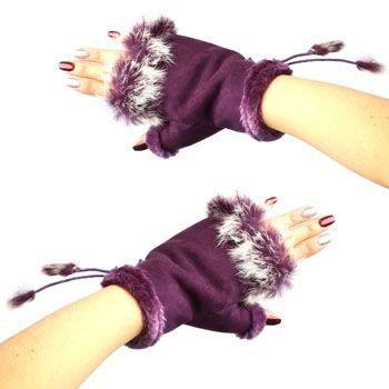 Winter Soft Fuzzy Furry Real Fur Trim Fingerless Half Cuff Off Gloves Purple S/M