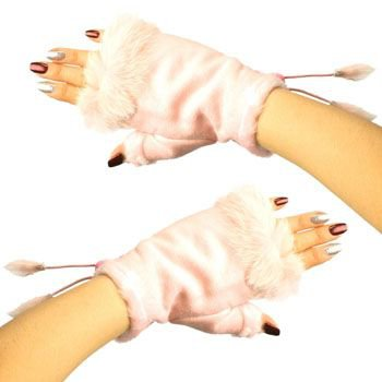 Winter Soft Fuzzy Furry Real Fur Trim Fingerless Half Cuff Off Gloves Pink S/M
