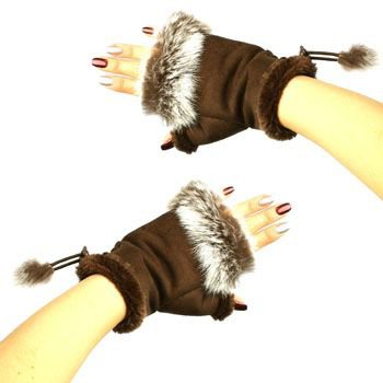 Winter Soft Fuzzy Furry Real Fur Trim Fingerless Half Cuff Off Gloves Brown S/M