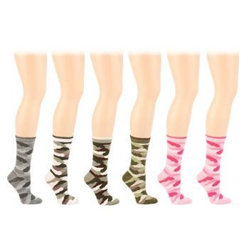 Cotton 6 Pairs Camouflage Camo Army Crew Ladies Mid Calf Socks Cotton Set