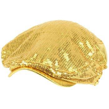 Unisex Adjustable Sequins Shimmer Dancer Curved Ivy Cabby Driver Hat Cap Gold