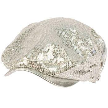 Unisex Adjustable Sequins Shimmer Dancer Curved Ivy Cabby Driver Hat Cap Silver