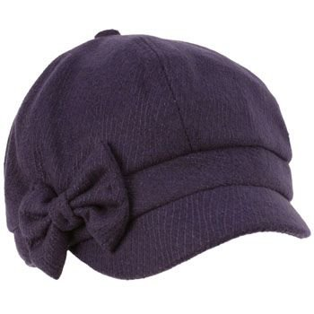 Ladies Winter Fall Ribbon Bow 6 panel Newsboy Gatsby Cabbie Visor Cap Hat Navy