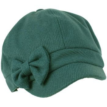 Ladies Winter Fall Ribbon Bow 6 panel Newsboy Gatsby Cabbie Visor Cap Hat Teal