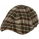 Men's English Plaid Duck Bill Curved Ivy Cabby Driver Lined Hat Cap Gray L 58cm