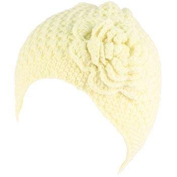 Crochet Flower Vent Knit Beanie Skull Winter Hat Ivory