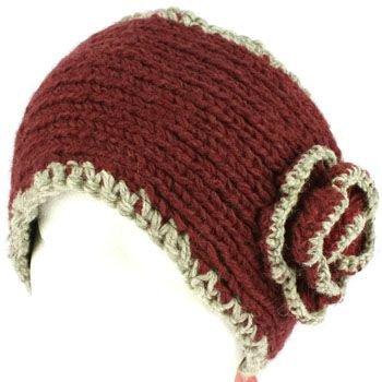 100% Winter 2 Tone Hand Knit Himalaya Headwrap Headband Fleece Lined Ski Purple