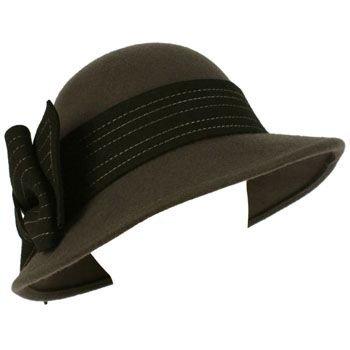 100% Wool Winter Structured Cloche Bucket Floppy Church Big Ribbon Hat Gray Blk