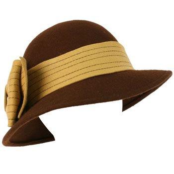 100% Wool Winter Structured Cloche Bucket Floppy Church Big Ribbon Hat Brown Be