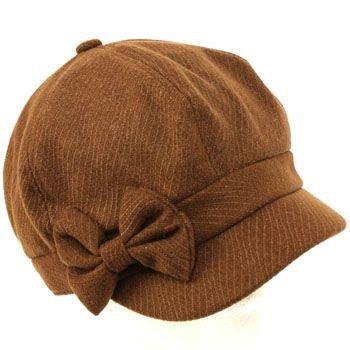 Ladies Winter Fall 6 Panel Newsboy Gatsby Cabbie Driver Ribbon Bow Cap Hat Brown