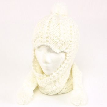 Winter Handmade Hand Knit Trooper Trapper w/ Scarf Winter Ski Pom Pom Hat White