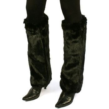 Winter Faux Fake Mink Fur Animal Dance Ski Long Leg Warmer Boot Shoe Cover Black