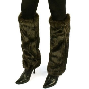 Winter Faux Fake Mink Fur Animal Dance Ski Long Leg Warmer Boot Shoe Cover Brown