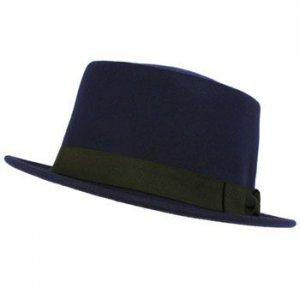 Men's Winter Classic 100% Wool Boater Porkpie Ribbon Band Top Hat Cap Blue M/L