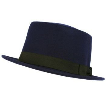 Men's Winter Classic 100% Wool Boater Porkpie Ribbon Band Top Hat Cap Blue S/M