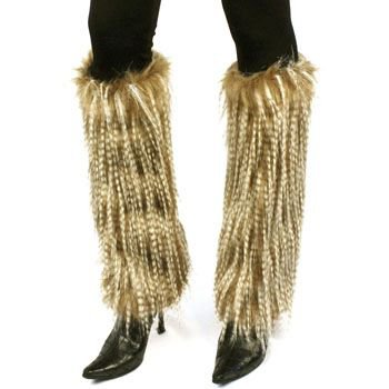 Winter Faux Shaggy Long Fur Animal Dance Ski Leg Warmer Boot Shoe Cover Beige