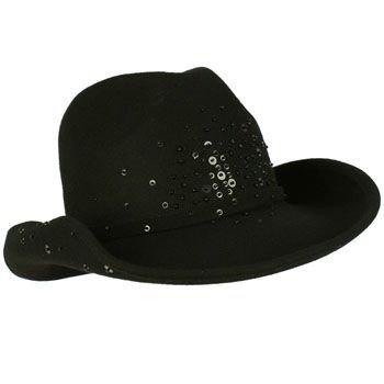 Winter Classic 100% Wool Adjustable Western Cowboy Sequins Dance Cap Hat Black