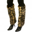 Winter Faux Fur Animal Print Dance Ski Leg Warmer Boot Shoe Cover Cheetah Brown