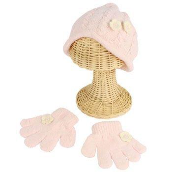Winter Toddler Girls 2-4 Chenille Flower Knit Ski Beanie Hat w Gloves Set Pink