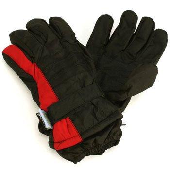 Men's Winter Thinsulate 3M Waterproof Velcro Ski Wrist Cover Gloves Blk Red M/L
