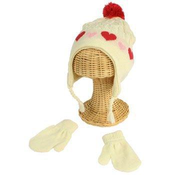 Winter Toddler Girls 2-4 Knit Ski Trapper Beanie Hat w Mittens Gloves Set Ivory