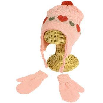 Winter Toddler Girls 2-4 Knit Ski Trapper Beanie Hat w Mittens Gloves Set Pink