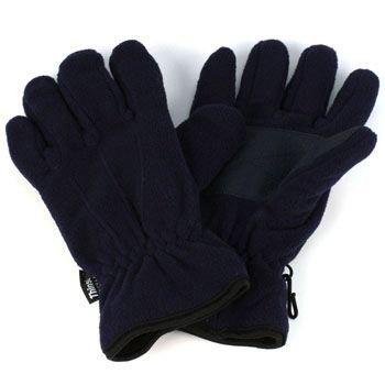 Ladies Winter Dual Thick Fleece Ski 3M Thinsulate Grip Snow Gloves Navy S/M