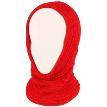 4-1 Chunky Knit Pullover Beanie Headscarf Circle Loop Neckwarmer Scarf Hat Red
