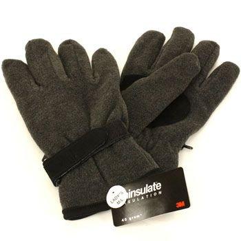 Ladies Winter Fleece Velcro Ski 3M Thinsulate Palm Grip Snow Gloves Gray M/L