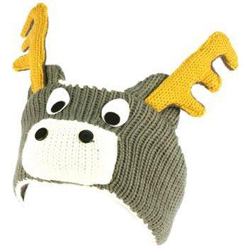 Winter Fleece Lined Knit Adjustable Headband Headwrap Ski Snow Animal Moose