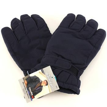 Men's Winter Thinsulate 3M Waterproof Velcro Ski Snow Gloves Solid Navy M/L