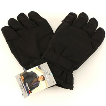 Men's Winter Thinsulate 3M Waterproof Velcro Ski Snow Gloves Solid Black M/L