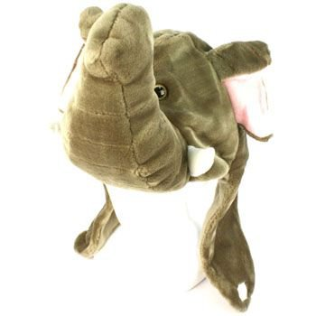 Faux Fake Fur Animal Plush Elephant Big Trunk Trapper Slip Tie Ski Pompom Hat