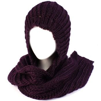 Winter Chunky Knit Hooded Scarf Pullover Headscarf Neckwarmer Hoodie Hat Purple
