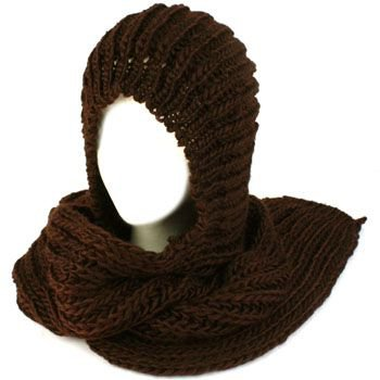 Winter Chunky Knit Hooded Scarf Pullover Headscarf Neckwarmer Hoodie Hat Brown