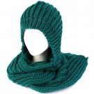Winter Chunky Knit Hooded Scarf Pullover Headscarf Neckwarmer Hoodie Hat Teal