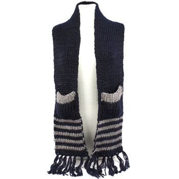 Winter Cable Knit Stripe Long Fringe Scarf Shawl Ski Hat w Pockets Mittens Navy