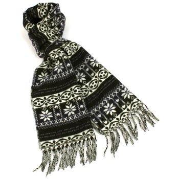 Unisex Winter Softer Than Cashmere? Warm Snow Scarf Shawl Fringe Snowflake Navy