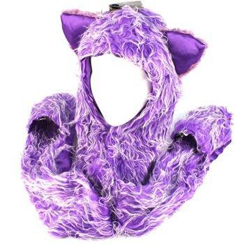 Winter Faux Fake Frizzy Animal Fur Scarf Trapper Ski Hat w Gloves Mittens Purple