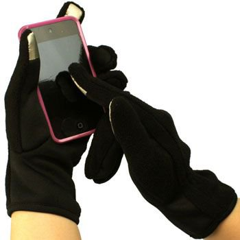 Ladies Winter Fleece Magic Touch Screen Thumb Index Technology Gloves Black M/L