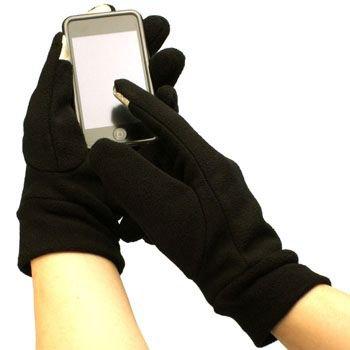 Men's Winter Fleece Magic Touch Screen Thumb Index Technology Gloves Black L/XL