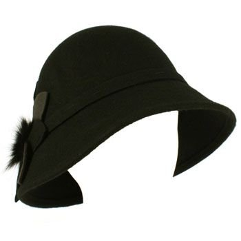 100% Wool Real Fur Floral Winter Structured Cloche Bucket Bell Church Hat Black