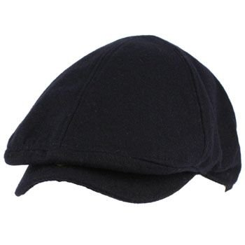 Men's Winter Wool Snap Open Duck Bill Curved Ivy Cabby Driver Hat Cap Navy S/M