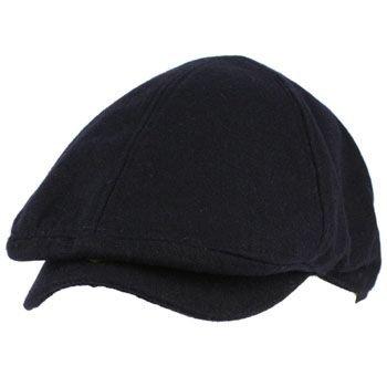 Men's Winter Wool Snap Open Duck Bill Curved Ivy Cabby Driver Hat Cap Navy L/XL